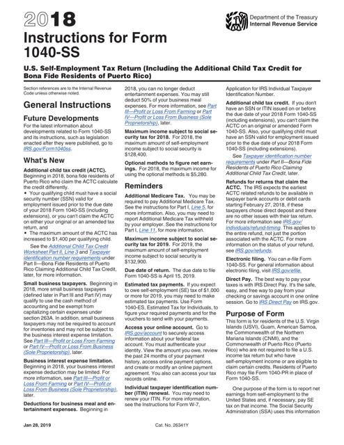 IRS Form 1040-SS 2018 Printable Pdf