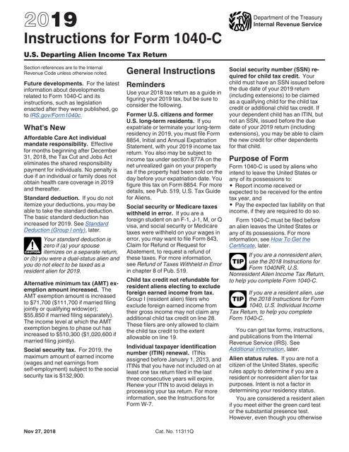 IRS Form 1040-C 2019 Printable Pdf