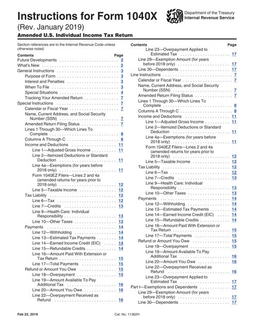 IRS Form 1040X  Printable Pdf