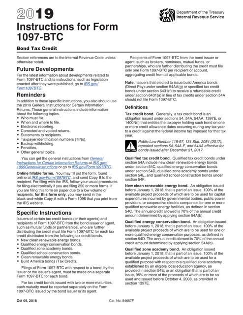 IRS Form 1097-BTC 2019 Printable Pdf