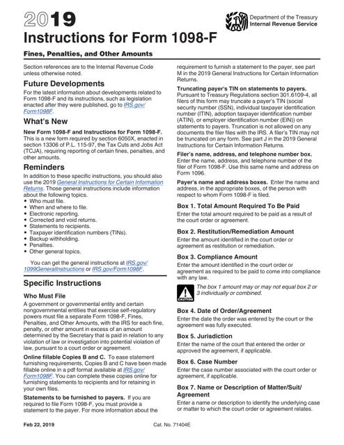 IRS Form 1098-F 2019 Printable Pdf