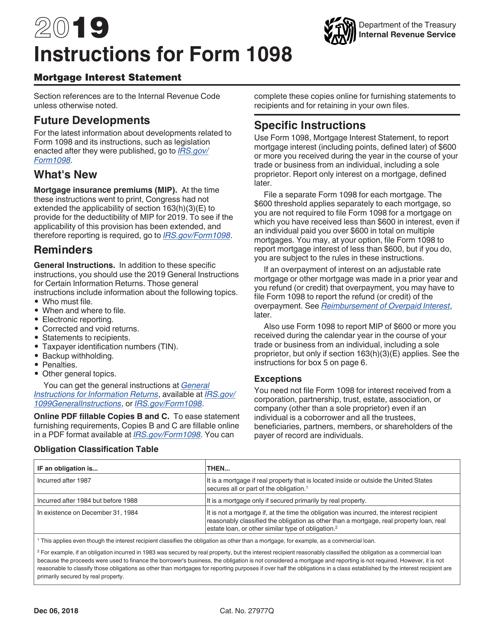 IRS Form 1098 2019 Printable Pdf