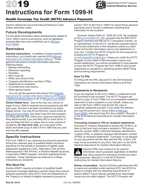 IRS Form 1099-H 2019 Printable Pdf