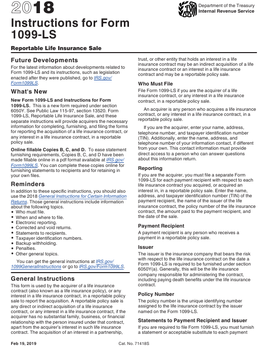 Instructions For Irs Form 1099 Ls Reportable Life Insurance Sale