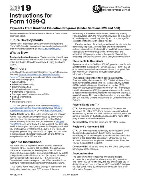 IRS Form 1099-Q 2019 Printable Pdf