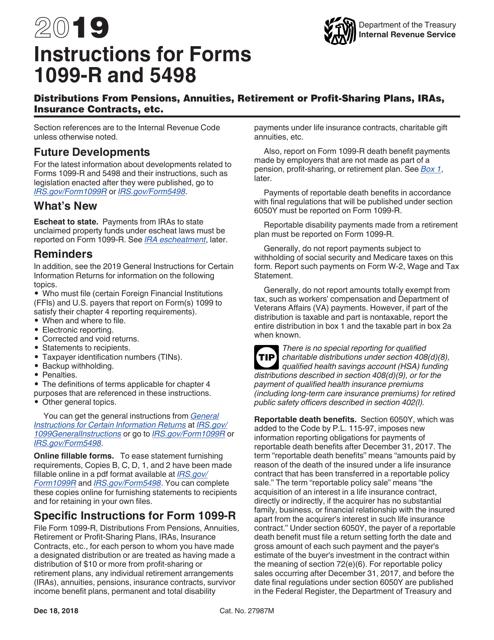 IRS Form 1099-R, 5498 2019 Printable Pdf