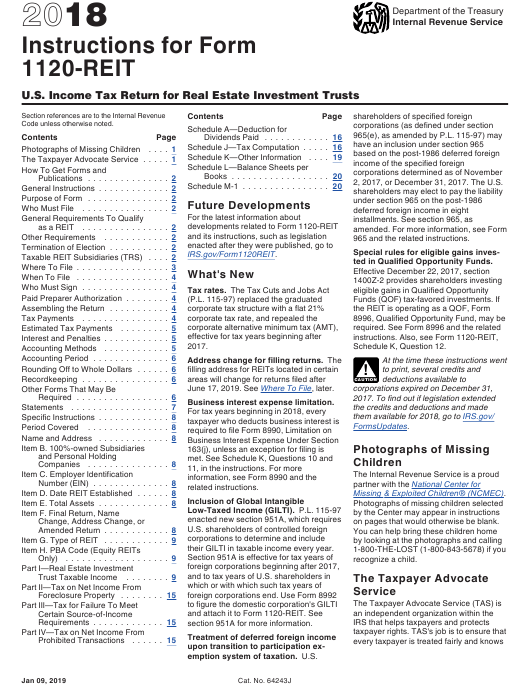 IRS Form 1120-REIT 2018 Printable Pdf
