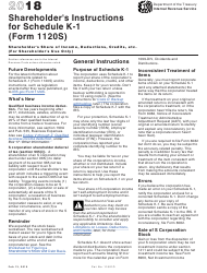"Instructions for IRS Form 1120S Schedule K-1 ""Shareholder's Share of Income, Deductions, Credits, Etc. (For Shareholder's Use Only)"", 2018"