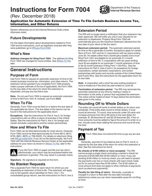 IRS Form 7004  Printable Pdf
