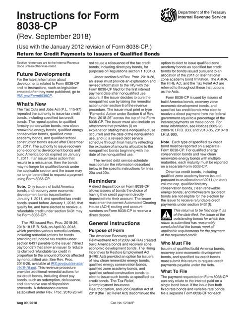 IRS Form 8038-CP  Printable Pdf