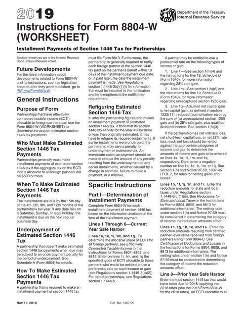 IRS Form 8804-W 2019 Printable Pdf