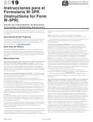 "Instructions for IRS Form W-3PR ""Transmittal of Withholding Statements"" (English/Spanish), 2019"