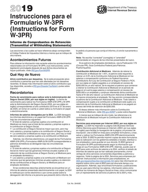 IRS Form W-3PR 2019 Printable Pdf