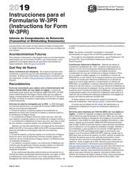 Instrucciones Para El IRS Formulario W-3pr - Informe De Comprobantes De Retencion (Spanish/English) 2019
