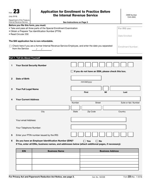 IRS Form 23 Printable Pdf