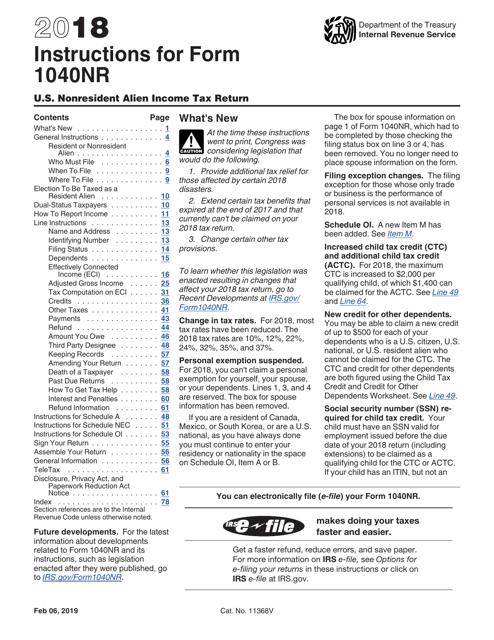 IRS Form 1040NR 2018 Printable Pdf