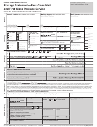 "PS Form 3600-FCM ""Postage Statement - First-Class Mail and First-Class Package Service"""