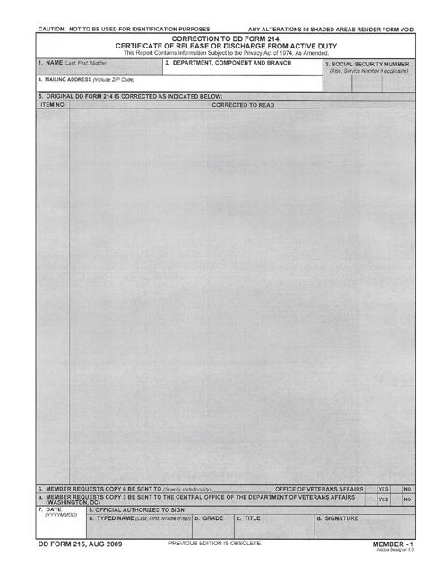 DD Form 215 Printable Pdf
