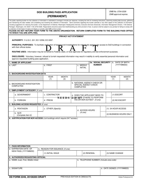 DD Form 2249 Fillable Pdf