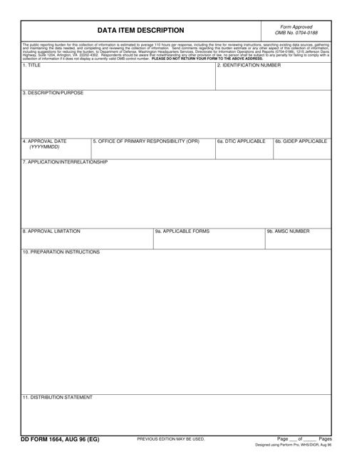 DD Form 1664 Printable Pdf