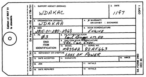 """Sample DA Form 2402 """"Maintenance Tag"""""""
