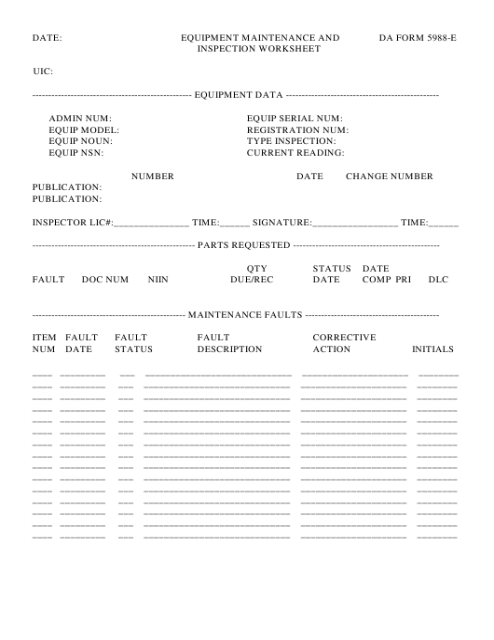 DA Form 5988-E Printable Pdf