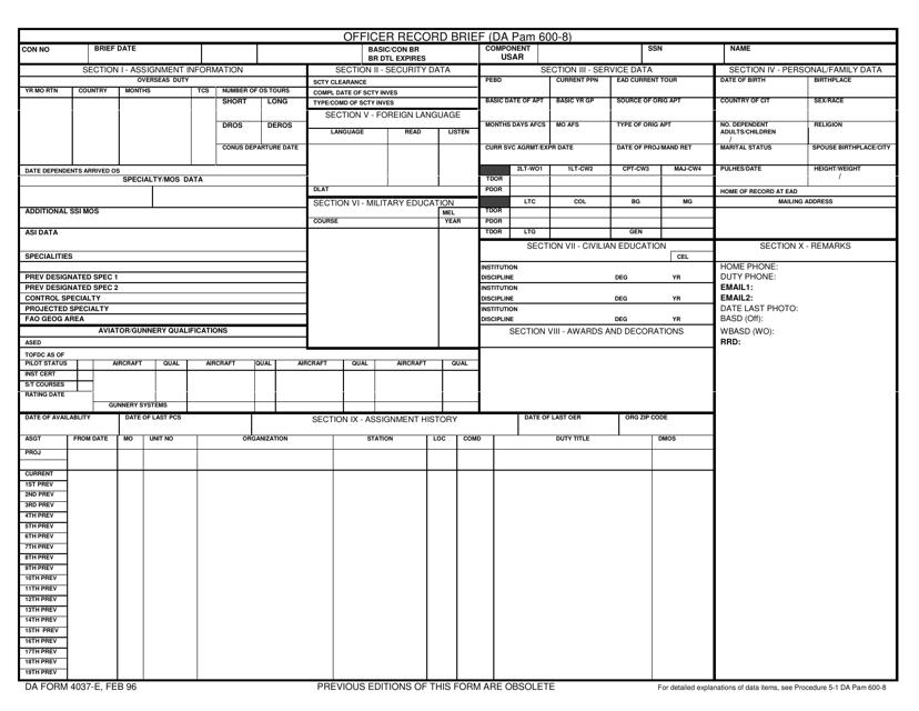 DA Form 4037-E Printable Pdf