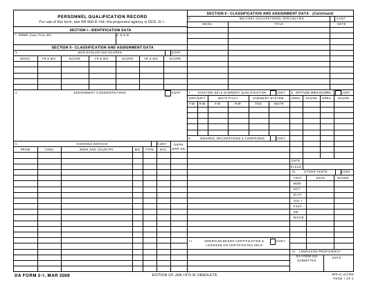 DA Form 2-1 Fillable Pdf