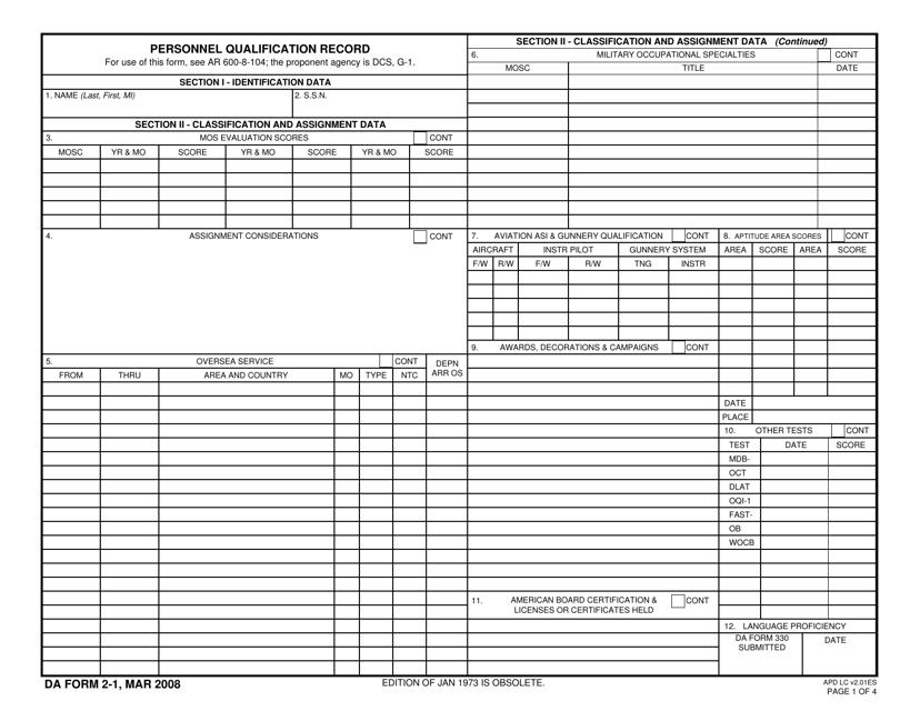 DA Form 2-1 Fillable Pdf
