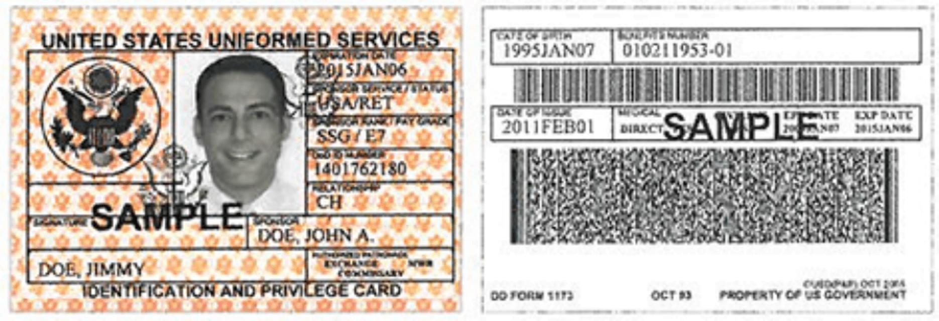 DD Form 1173 Printable Pdf