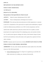 """14 Cfr Part 91 (Docket No. FAA-2014-0396), Interpretation of the Special Rule for Model Aircraft"""