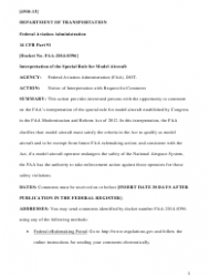 14 Cfr Part 91 (Docket No. Faa-2014-0396), Interpretation of the Special Rule for Model Aircraft