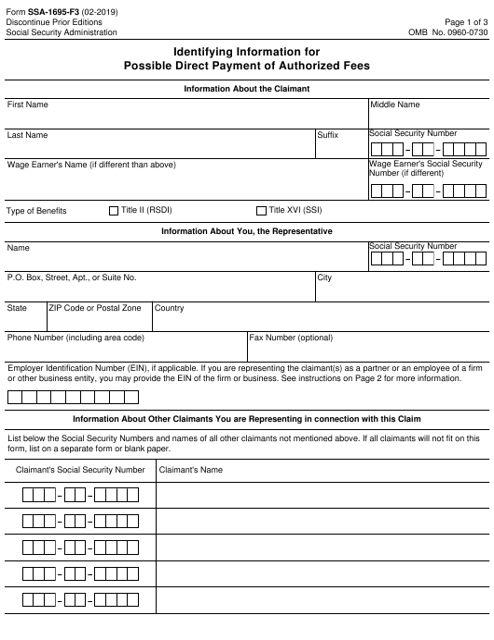 Form SSA-1695-F3  Printable Pdf