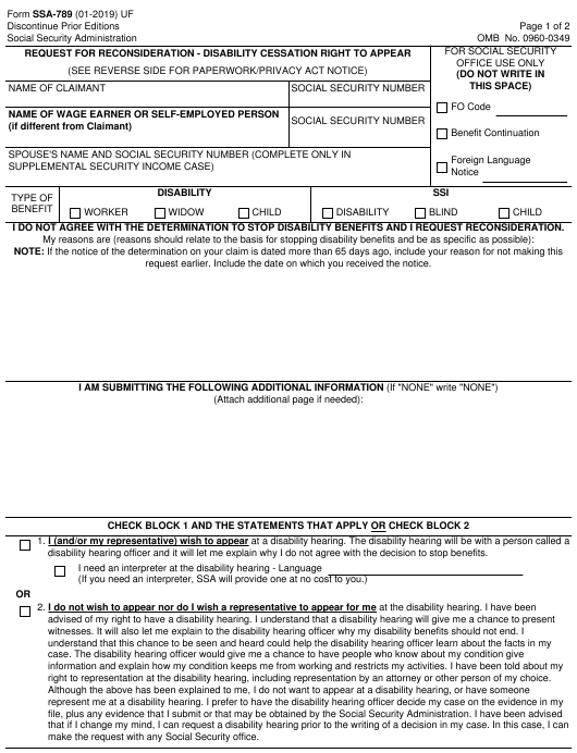 Form SSA-789 Printable Pdf