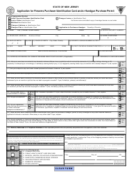 """Form S.T.S.033 """"Application for Firearms Purchaser Identification Card and/Or Handgun Purchase Permit"""" - New Jersey"""