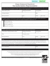"Form 2553 ""Tax Authorization Representative"" - Oregon"
