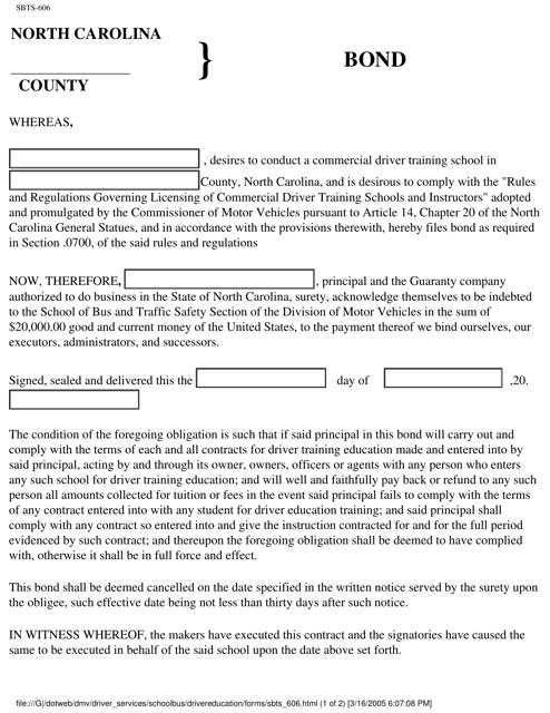 Form SBTS-606  Printable Pdf