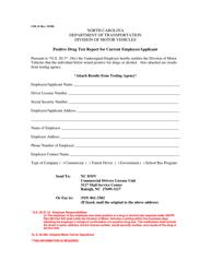 "Form CDL-8 ""Positive Drug Test Report for Current Employee/Applicant"" - North Carolina"