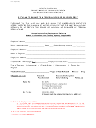 """Form CDL-9 """"Refusal to Submit to a Federal Drug or Alcohol Test"""" - North Carolina"""