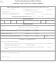 """Form MVR-1A """"Certification of Plate and/Or Address"""" - North Carolina"""