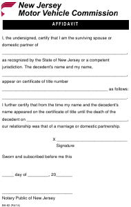 "Form BA-62 ""Affidavit of Surviving Spouse"" - New Jersey"