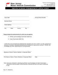 """Form BLS-75 """"Driving School Endorsement Application"""" - New Jersey"""
