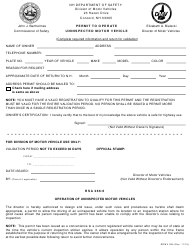 """Form RDMV354 """"Permit to Operate an Uninspected Motor Vehicle"""" - New Hampshire"""