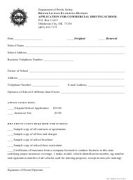 "Form DPS300DLX 055 ""Application for Commercial Driving School"" - Oklahoma"