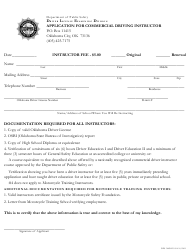 "Form DPS300DLX 054 ""Application for Commercial Driving Instructor"" - Oklahoma"