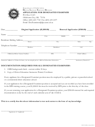 "Form DPS300DLS 0164 ""Application for Designated Examiner"" - Oklahoma"