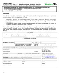 """Application for Refund - International Cargo Flights"" - Manitoba, Canada"