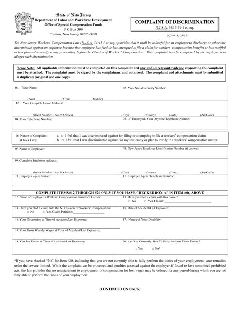 Form SCF-4  Printable Pdf