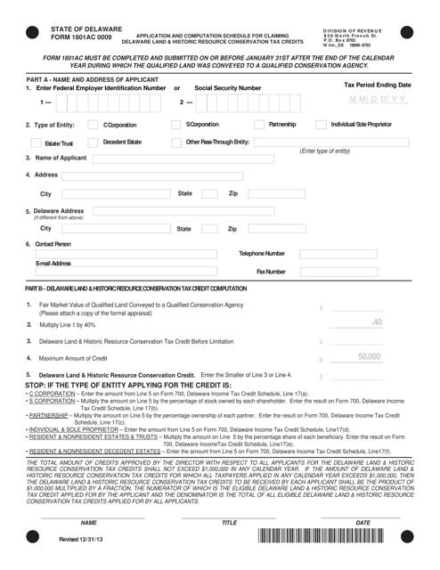 Form 1801AC 0009  Printable Pdf