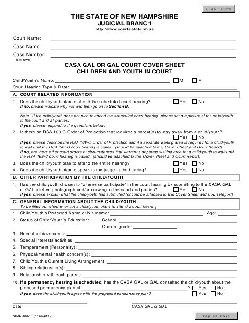 Form NHJB-2827-F  Printable Pdf